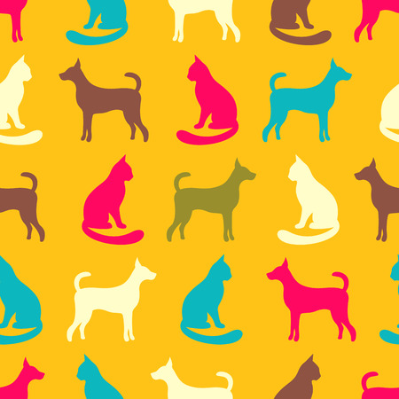animal silhouette: Animal seamless vector pattern of cat and dog silhouettes.
