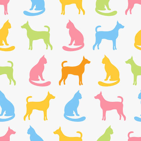 cute kids: Animal seamless vector pattern of cat and dog silhouettes.