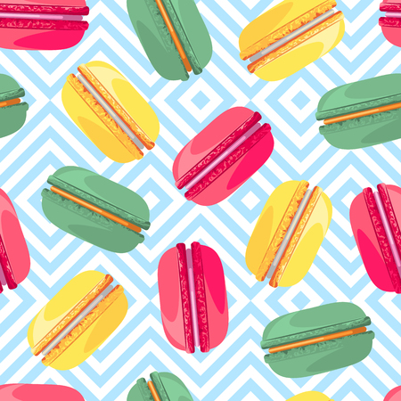 industry pattern: Seamless pattern with french sweet macaroons. Sweet donuts isolated on zig zag background. Delicious desserts. Fresh bakery. Can be used in food industry for wallpapers, posters, wrapping paper. Vector Illustration