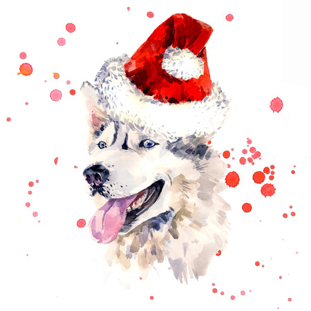 clause: Watercolor sheepdog in red Santa Clause hat.