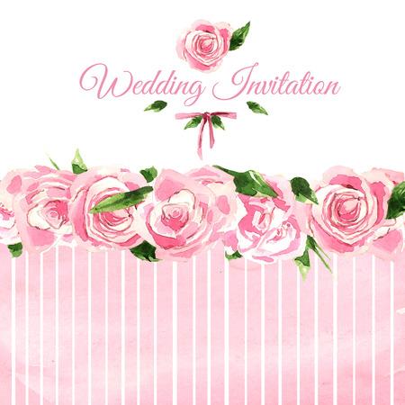 borde de flores: tarjeta de invitación de la boda de la acuarela.