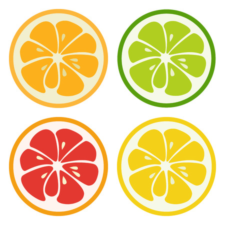 kinds: Kinds of citrus fruits. Lemon, lime, orange and grapefruit isolated on white background. Fresh tasty healthy fruits.