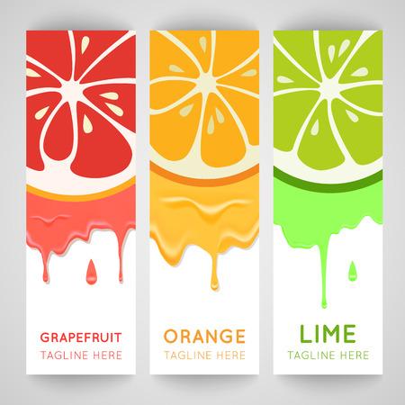 Tres banner brillante con cítricos estilizada y salpicaduras. Ilustración de vector