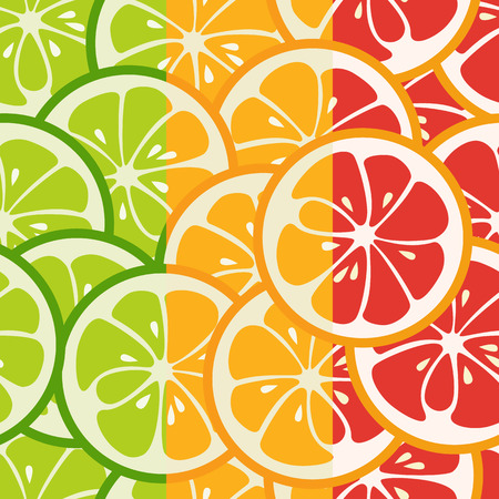 mandarins: Striped seamless pattern with lime, orange and grapefruit.