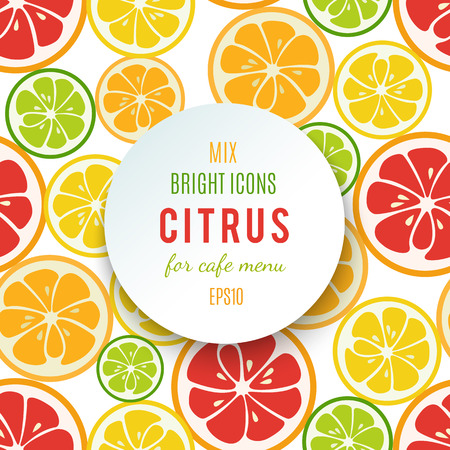 mandarins: Banner with citrus fruits and spare place for your text. Your text can be easily added. Grapefruit, lime, lemon and orange. For cafe menu modern design. Bright stylish juicy icon design. Vector