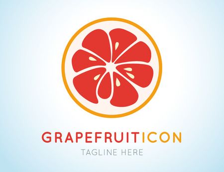 isolated ingredient: Red grapefruit stylish  icon isolated on white background. Juicy fruit logo. Logotype for citrus company. Refreshing yummy tropical summer fruit. Cocktail ingredient. Vector design illustration Illustration