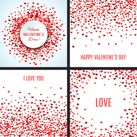 Set of romantic red heart backgrounds.