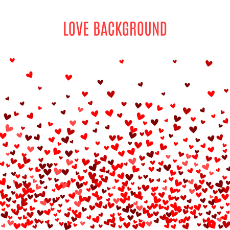 Romantic red heart background. Vector illustration for holiday design. Many flying hearts on white background. For wedding card, valentine's day greetings, lovely frame.