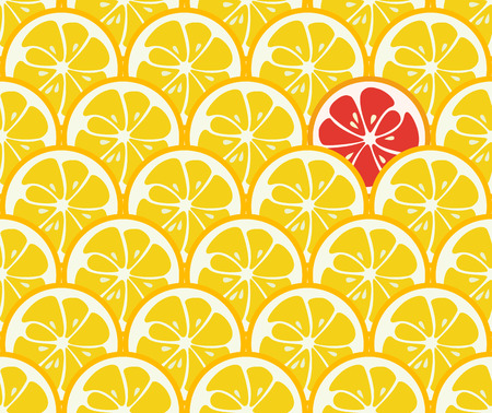 summer fruits: Cute seamless pattern with yellow lemon slices. Tasty summer background. Yummy tropical fruits endless texture. Can be used for wallpaper, banner, poster. Delicious healthy fruits. Vector illustration