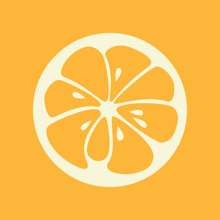 yummy: Orange logo. Logotype for citrus company. Refreshing yummy tropical summer fruit. Cocktail ingredient. Vector design illustration