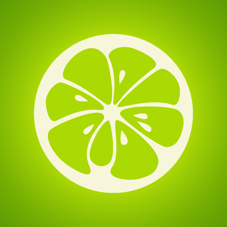 lime: Green lime logo. Logotype for citrus company. Refreshing yummy tropical summer fruit. Cocktail ingredient. Vector design illustration Illustration