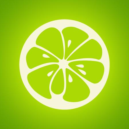 Green lime logo. Logotype for citrus company. Refreshing yummy tropical summer fruit. Cocktail ingredient. Vector design illustration Illustration