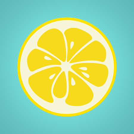 Yellow lemon stylish  icon isolated on white background. Juicy fruit logo. Logotype for citrus company. Refreshing yummy tropical summer fruit. Cocktail ingredient. Vector design illustration Illustration