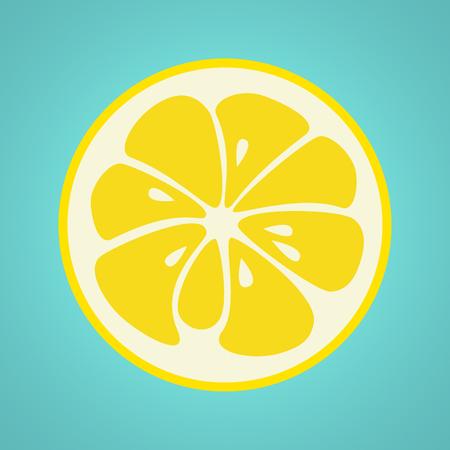 white yummy: Yellow lemon stylish  icon isolated on white background. Juicy fruit logo. Logotype for citrus company. Refreshing yummy tropical summer fruit. Cocktail ingredient. Vector design illustration Illustration