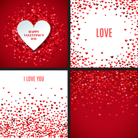 Set of romantic red heart backgrounds. Vector illustration for holiday design. Many flying hearts on white and red background. For wedding card, valentine's day greetings, lovely frame. Vectores