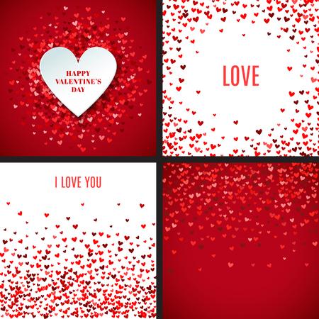 Conjunto de fondos rojos románticos del corazón. Ilustración del vector para el diseño de fiesta. Muchos corazones del vuelo en el fondo blanco y rojo. Por invitación de boda, saludos del día de San Valentín, marco precioso.