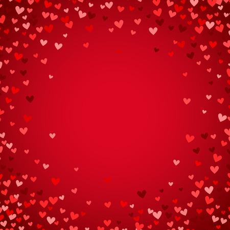 ロマンチックな赤いハートの背景。休日のデザインのベクトル図です。赤の背景に多く飛んで心。結婚式カード、バレンタイン カード、素敵なフレ