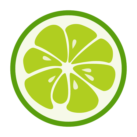 Green lime Refreshing yummy tropical summer fruit. Cocktail ingredient. Vector design illustration