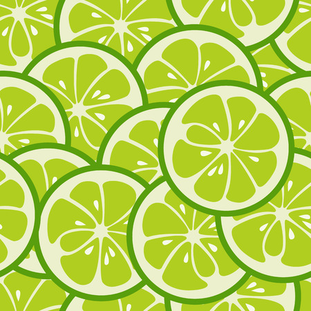 lemon lime: Cute seamless pattern with green lime slices. Tasty summer background. Yummy tropical fruits endless texture. Can be used for wallpaper, banner, poster. Delicious healthy fruits. Vector illustration