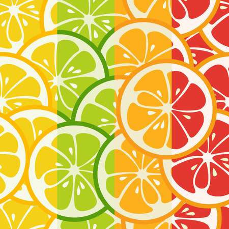mandarins: Striped seamless pattern with lime, orange and grapefruit. Tasty summer background. Yummy tropical fruits endless texture. Can be used for wallpapers, banners, posters. Vector illustration Illustration
