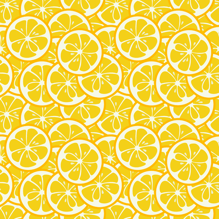 yummy: Cute seamless pattern with yellow lemon slices. Tasty summer background. Yummy tropical fruits endless texture. Can be used for wallpapers, banners, posters. Delicious healthy fruits. Vector illustration Illustration