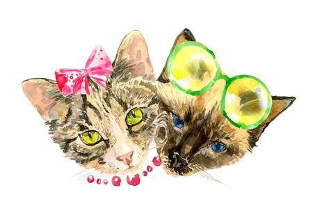 feline: Fashionable watercolor cats isolated on white background. Valentines day concept. Modern cat girl in bow and handsome cat boy in lemon glasses. For posters, invitation and greeting cards, t-shirts.