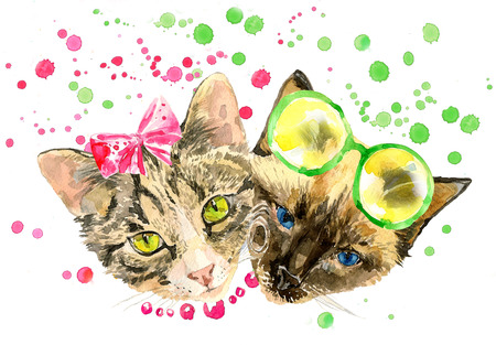 pink girl: Fashionable watercolor cats isolated on white background. Valentines day concept. Modern cat girl in bow and handsome cat boy in lemon glasses. For posters, invitation and greeting cards, t-shirts.