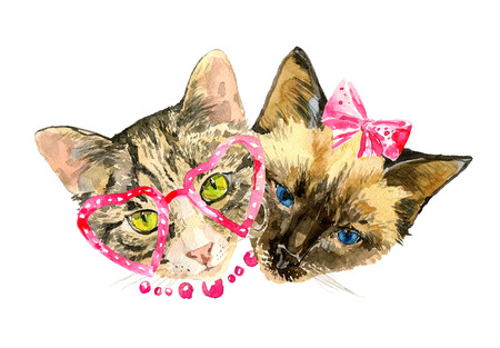 Fashionable watercolor cats  friends isolated on white background.  Modern cat girls in bow and cute heart shaped glasses. Beautiful kittens. For posters, invitation and greeting cards, t-shirts.
