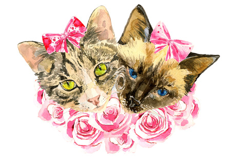eighth: Fashionable watercolor cats  in pink roses isolated on white background.  Modern cat girls in bows. Beautiful kittens. For posters, invitations and greeting cards, birthdays, eighth of March, t-shirts