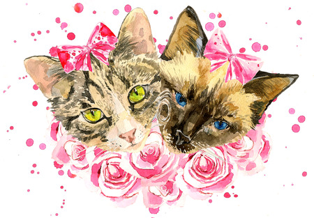 girls with bows: Fashionable watercolor cats  in pink roses isolated on white background.  Modern cat girls in bows. Beautiful kittens. For posters, invitations and greeting cards, birthdays, eighth of March, t-shirts