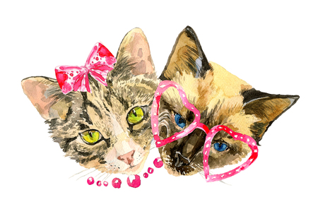 boy friend: Cat lovers celebrate Valentines day. Modern cat girl in fashionable bow and handsome cat boy in cute glasses. Can be used for posters, invitation and greeting cards, t-shirts. Watercolor illustration