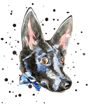 dog ears: Close up portrait of cheerful watercolor dog isolated on white background with black strokes. Doberman puppy with long ears with a bow. For posters, invitation and greeting cards, t-shirts.