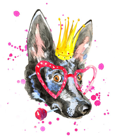 dog ears: Portrait of watercolor dog isolated on white background in cool heart shaped glasses with crown on the head. Doberman puppy with  long ears holds lollipop. For posters, invitation cards, t-shirts.