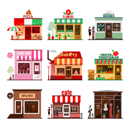 casita de dulces: sistema fresco de edificios detalladas diseño plano de la ciudad públicas. Restaurantes y tiendas fachada iconos. Pizza, flores, libros, tienda de dulces, panadería, frutas y verduras, café, café ya boutique. Vector