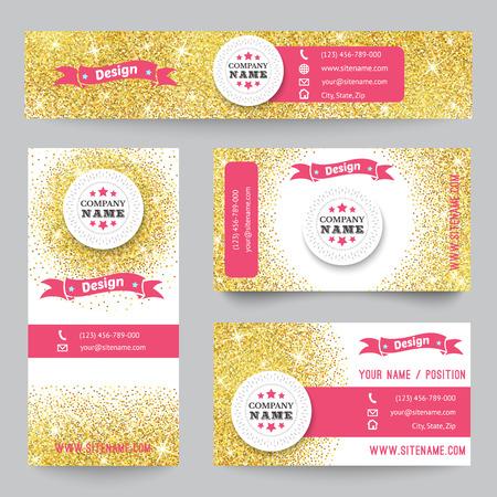 Set van corporate identity templates met gouden thema. Vector illustratie voor het mooie ontwerp. Etnisch goud vintage frame. Roze, gele en witte kleuren. Grens, frame, pictogram.