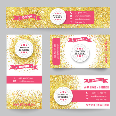 Set of corporate identity templates with golden theme. Vector illustration for pretty design. Ethnic gold vintage frame. Pink, yellow and white colors. Border, frame, icon elements. Illustration