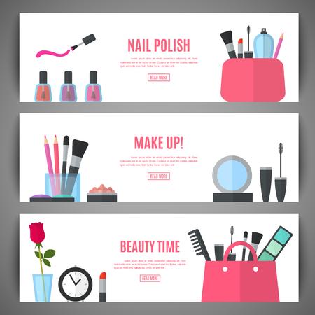 productos de belleza: Conjunto de belleza compone diseño de banners. accesorios cosméticos para el maquillaje. Cosmetología y SPA. Ilustración del vector para folletos promocionales, folletos, panfletos, bandera. estilo plano