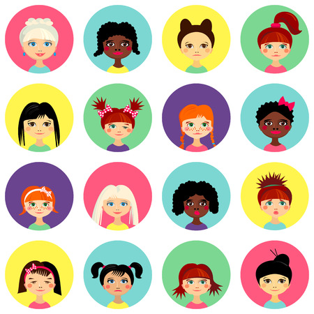 teenage girl: Multinational female face avatar profile heads with multi colored hair. Girls with different hairstyles. Flat design icons isolated on white background. Women close up portraits. Vector illustration Illustration