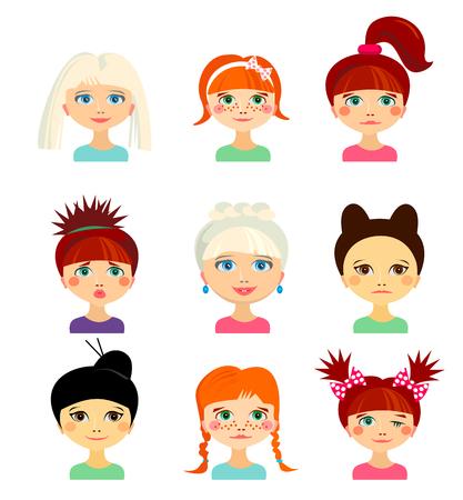 etnia: Avatar establece con las mujeres de diferente origen étnico. Caras graciosas. Niñas de diferentes nacionalidades. Las mujeres con diferentes tipos de miradas y peinados. estilo de dibujos animados. Vector ilustración de diseño