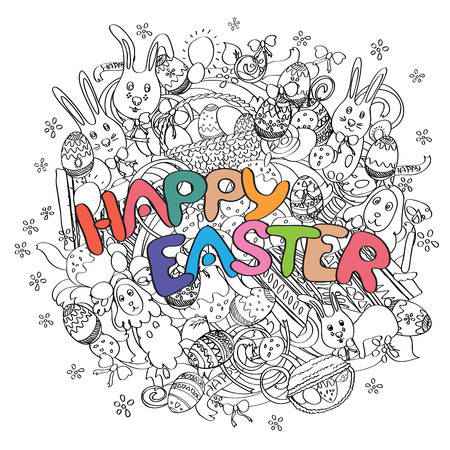 blog design: Happy Easter isolated on black and white doodle background with cute cartoon elements. Sketch illustration for greeting card, ad, poster, blog, article, t-shirt design. Vector design banner