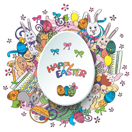 middle easter: Happy easter colorful greeting card in vector. Text is written on the egg in the middle of illustration.  Funny rabbits, cakes, spring flowers and baskets. Stylish holiday background in cartoon style Illustration