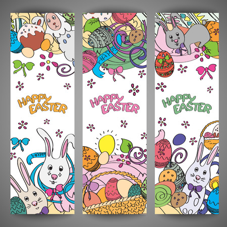 food basket: Set of creative colorful banners for Happy Easter. Cute Easter symbols in every poster. Bunnies, eggs, cakes drawn in stylish cartoon style. Greeting card design with congratulations. Vector
