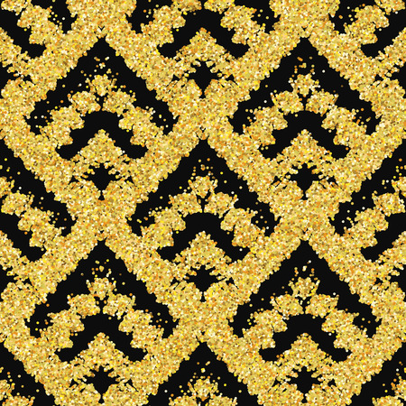 zigzag: Hand drawn golden seamless pattern. Vector illustration for gold design. Ethnic motif. Zigzag and stripe line. Yellow and black colors. For invitation, web, textile, wallpaper, wrapping paper.