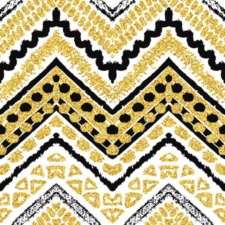 yellow line: Hand drawn golden seamless pattern. Vector illustration for gold design. Ethnic motif. Zigzag and stripe line. Yellow and white colors. For invitation, web, textile, wallpaper, wrapping paper.