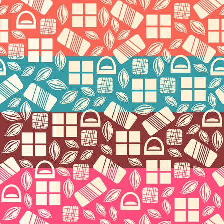 assortment: Set of seamless pattern with chocolate sweets. Assortment of chocolate items. Various tasty gourmet products. Can be used for wallpaper and wrapping paper. Mix. Vector Illustration