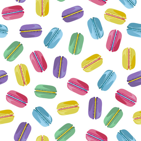industry pattern: Seamless pattern with tasty macaroons. Sweet donuts isolated on polka dot background. Delicious desserts. Fresh bakery. Can be used in food industry for wallpapers, posters, wrapping paper. Vector