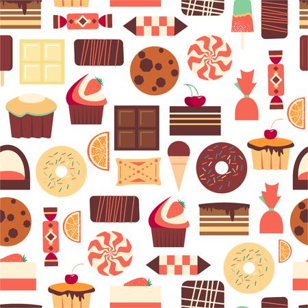 postres: Modelo inconsútil con los objetos de postres dulces. Resumen de fondo con artículos gourmet sabrosos. Para fondo de pantalla y papel de regalo. vector de alimentos de diseño ilustración. confitería retro. Pasteles. Vectores