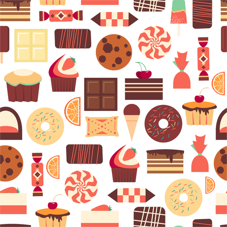 Seamless pattern with sweet dessert objects. Abstract background with tasty gourmet items. For wallpaper and wrapping paper. Food vector design illustration. Retro confectionery. Pastry. Illustration