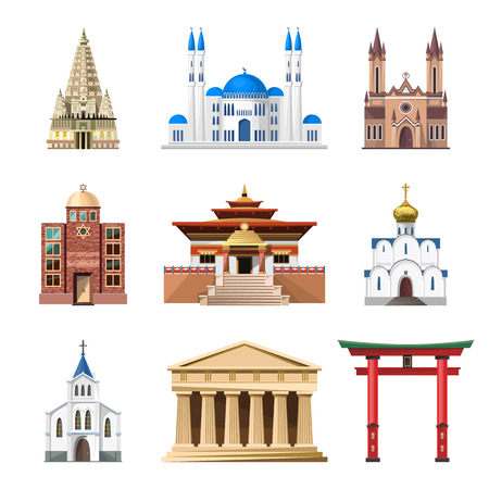 places of interest: Cathedrals, churches and mosques vector building set. Collection of temple buildings and architecture. Places of interest of different countries. Islam, buddhist, hindu and christian religion.