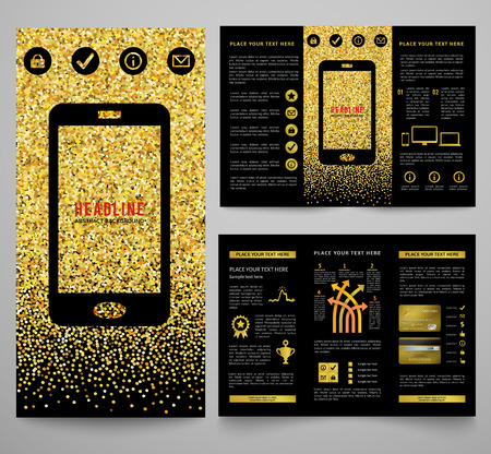 tri color: Vector golden elegant business brochure design for your company in black and gold colors. For mobile phone, computer, internet and web posters design. Tri-fold abstract brochure with infographic Illustration